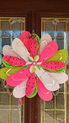 Unique Handmade Flip Flop Wreath Door Wall by TheFlipFlopDaisy
