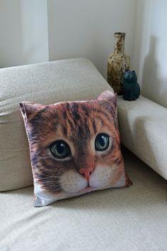 Cat cat cushion cover cat pillow cover cat portrait by BENWINEWIN, $17.90