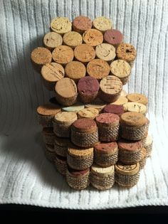 Cork coasters with burlap trim