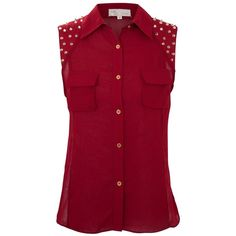 Cameo Rose Dark Red Stud Shoulder Shirt (40 PLN) ❤ liked on Polyvore featuring tops, blouses, shirts, blusas, tank tops, dark red shirt, sleeveless collared shirt, evening blouses, red sleeveless blouse and collar blouse