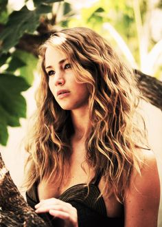 Jennifer Lawrence Beach Summer Big Curly Hair