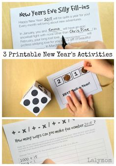 New Year's Eve is the time for parties! Find printable New Year's activities here that are fun for kids and adults! Keep the kids busy until midnight on New Year's Eve with these fun activities! Fun printable games that the whole family will enjoy. New Year's Eve Activities, Printable Activities For Kids, Free Printables, Preschool Activities, Winter Activities, Printable Worksheets, New Years With Kids, New Years Eve Games, New Year's Games