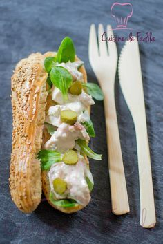Try this creative take on eclair with duck, yogurt sauce, and cornichons as a sandwich or a delicious snack!