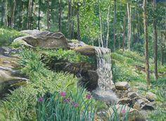 Woodland Waterfall  Coastal Maine Botanical by DowneastWatercolors