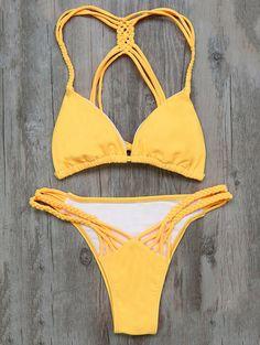 $17.99 Braided Padded Bikini - YELLOW S