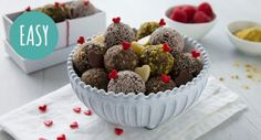 Win anyone over with these dangerously delicious Bliss Balls! My Recipes, Sweet Recipes, Snack Recipes, Dessert Recipes, Cooking Recipes, Favorite Recipes, Desserts, A Food, Food And Drink