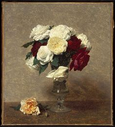 Henri Fantin-Latour (French, 1836-1904) - Roses in a Glass