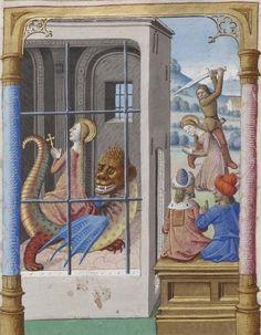 Bibliothèque nationale de France, Français 244, detail of f. 197r (St Margaret and the dragon). Jacobus de Voragine, Legenda Aurea. Paris, c.1480-1490.