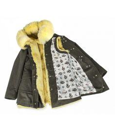 COTTON PARKA WITH LEMON COLOUR FOX-RABBIT VEST. ONLINE PURCHASE: www.cigdemmalkoc.com #parka #fashion #cigdemmalkoc #fox #furparka