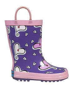 Another great find on #zulily! Purple & Pink Heart to Heart Rain Boot - Kids by RanyZany #zulilyfinds