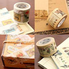 Image of mTape Illustrated Washi Tape. re positionable rice paper masking tape