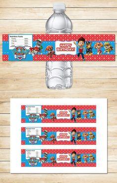 Free Paw Patrol Printables: Free Printable Paw Patrol Water Bottle Labels   Red BG Theme