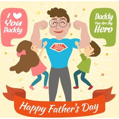Happy Father's Day Red Ribbon vector Background