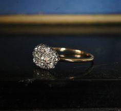 1900s Oval Cluster Ring, European Cut Diamonds, Platinum, 14K,