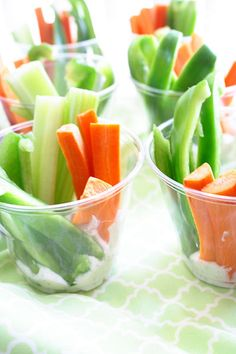 served up in individual containers... - Party food for baby showers/ bridal showers {veggie cup w/ranch at the bottom!}