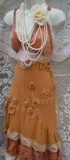 Beige edwardian dress tea stained cotton silk by vintageopulence