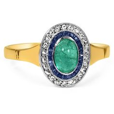 from Brilliant Earth This colorful Art Deco ring features a cabochon cut natural emerald center, wreathed by two distinct halos, one of scintillating sapphires and one of glittering diamonds. The 19K yellow gold band is the perfect complement to this multi-colored ring (approx. 0.09 ct. tw.).