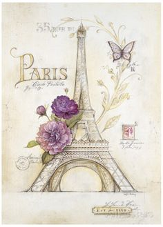 Eiffel Tower Roses Pôsters por Angela Staehling na AllPosters.com.br