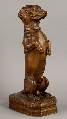 sit up and beg. a loevely carved wood dachshund. swiss 1900.