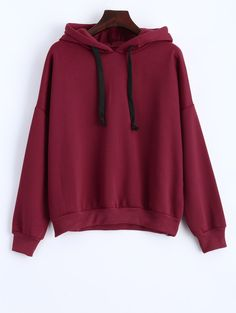Drawstring Loose Fitted Long Sleeve Hoodie in Wine Red | Sammydress.com
