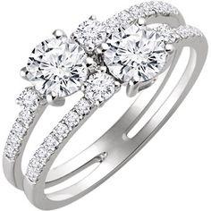14kt White 1/3 CTW Diamond Semi-mount 2-Stone Engagement Ring for 5mm Round Centers #twostone #WeddingTrends Locate a jeweler here: http://www.stuller.com/locateajeweler/