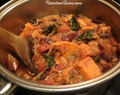 Chunky Sweet Potato Kale Chili   Only 221 Calories   Easy to Make   Warm, Sweet, Savory & Satiating   For MORE RECIPES please SIGN UP for our FREE NEWSLETTER www.NutritionTwins.com