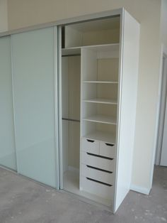 Floor to top panel, 3 door Optipanel sliding door wardrobe, draw /shelf unit with split drawers Wardrobe Furniture, Wardrobe Design Bedroom, White Bedroom Furniture, Closet Bedroom, Bedroom Decor, Small Wardrobe, Wardrobe Closet, Built In Wardrobe, Brimnes Wardrobe