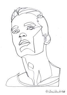 """Gaze 502″, continuous line drawing by Boris Schmitz"