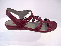 ECCO Strappy Dark Red Patent Leather Slingback  Sandals Size 39/ US 8- 81/2 #ECCO #AnkleStrap #Casual