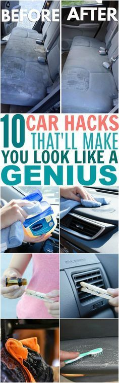 These 10 Car Hacks Made My Car Look AMAZING! I love how easily I can get rid of my cat's and dog's fur from my fabric seats now! The essential oil and Vaseline tricks are awesome too! My car has never been so clean. : )