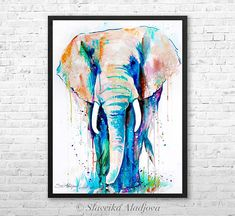 African Elephant watercolor framed canvas by Slaveika Aladjova, Limited edition, art, animal watercolor, animal illustration,bird art • FREE UPS (2-5 days) shipping Worldwide! • Black wood picture frame is included. • Printed on museum quality canvas. • Limited edition 1/75 • Printed