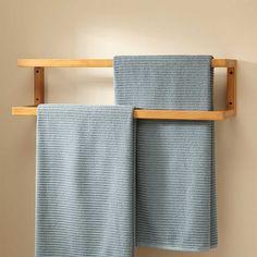 Signature Hardware Salvatore Bamboo Mounted Towel Rack for sale online Towel Holder Bathroom, Diy Bathroom, Wooden Bathroom, Bathroom Towels, Bathroom Shelves, Bathroom Furniture, Diy Furniture, Towel Holders, Rustic Furniture