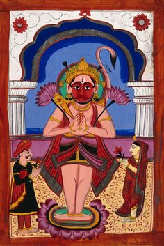Hanuman with two worshippers. Gouache drawing. | Wellcome Collection