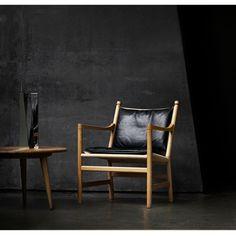 Hans Wegner CH44 Chair Oak Black Leather Cushion in Situ Carl Hansen and Son