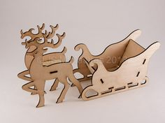 Christmas Decoration - Reindeer & Sleigh Kit - Half scale - 3D Laser Cut  - I love these!