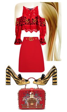 """""""Red ❤️"""" by goncaydogdu ❤ liked on Polyvore featuring For Love & Lemons and Gucci"""