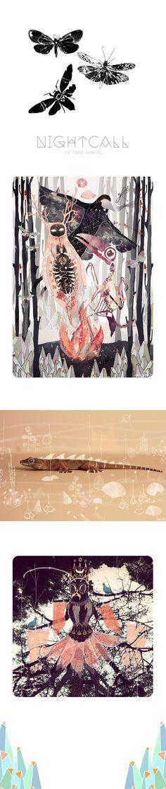 NightCall - The forest spirit awakens Mixed media illustrations using photographs and digital art.