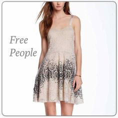 Free People Lace Dress NWT Brand new Free People tan and black lace dress with adjustable straps. NWT Free People Dresses Mini