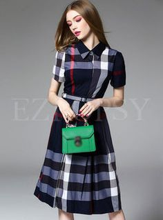Fashion Grid Print Waist A-Line Dress Modest Dresses, Nice Dresses, Skater Dresses, Midi Shirt Dress, Dress Skirt, Loose Fitting Tops, Autumn Fashion, Fashion Outfits, Fasion