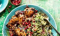 Pomegranate molasses chicken with bulgar salad.