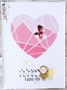Layout with a heart printable / Steffi Ried / #Scrapbooking