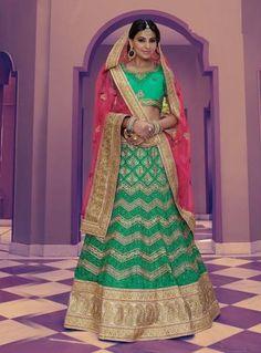 Pink & Green Netted A Line Bridal Lehenga Choli Fashion ,Indian Dresses - 1