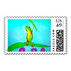 Cute Charlie The Frog Postage Stamp