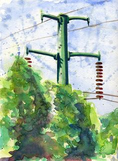 Painting - Power Line Pole by John D Benson , Electrical Lineman, Artsy Fartsy, Watercolor Paintings, Canvas, Landscapes, Creative, Electrical Cable, Electric, Sons