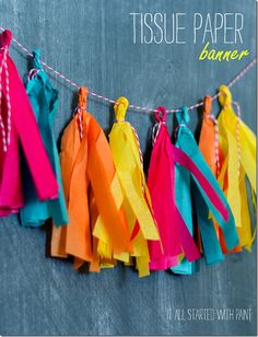Easy DIY on how to make a paper banner using copier paper, colored pencils, baker's twine & small clothespins. Paper banner DiY for parties, events, decor. Party Fiesta, Paper Crafts, Diy Crafts, Felt Crafts, Paper Banners, Diy Banner, Origami, Idee Diy, Party Photos
