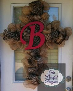 Custom Burlap Mesh Cross Wreath with 12 by ThePeacefulPenguin