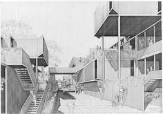 Fort Lincoln Housing - Scheme 2 Rendering 01 by Paul Rudolph Architecture Design, Architecture Graphics, Architecture Drawings, Installation Architecture, Beautiful Architecture, Photomontage, Model Sketch, Visualisation, 3d Max