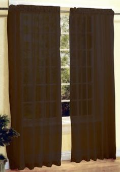 """Brown 2 Pc Sexy Sheer Voile Window Curtain Panel Set by AHF. $8.01. 2 Panels Sheer Window Curtain (58""""W x 84""""L Each Panel). Sheer Voile Window Curtains Set! This is a new style of sheer voile curtain set, comes with 2 panels curtain. It's very pretty and stylish.     Condition: Brand New     Design: Sheer Voile Plain Color     Main Color: Brown     Material: Polyester     Care Instruction: Machine Wash Cold with Gentle Cycle"""