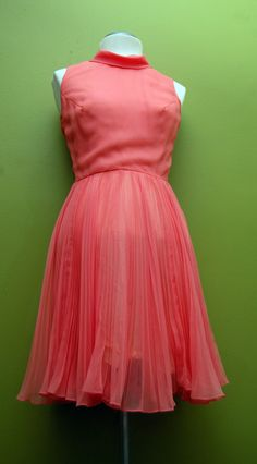 Vintage Coral Pink Jack Bryan Accordian Pleated Chiffon Day/Cocktail Dress FREE SHIPPING