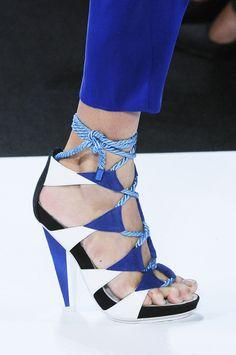 Diane von Furstenberg working the lace up. Blue Geometric Sandals #DVF #Shoes #Heels
